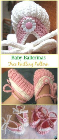 Knit Baby Ballerinas Booties Free Pattern - Knit Slippers Booties Free #Knitting Patterns