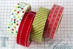 Japanese Washi Tape PrettyTape ReMIX Masking Tape - Polka, Dots, Red Gold Set of 4 Great for Christmas Decorations $16.00