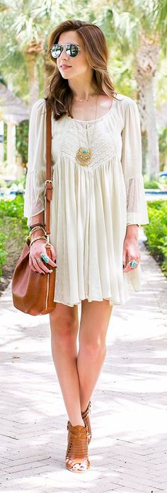 White Boho Inspired Lace Panel Little Dress