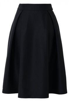 Full A-line Midi Skirt in Black