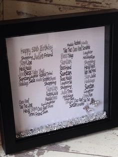 Wall art ~ Personalised, personalised shadow box frame 50th birthday Word Art Design ~ choose own wording and colours ~ special birthday by FunkyDesignsbyDi on Etsy