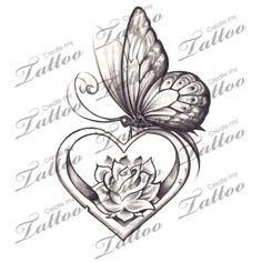 Marketplace Tattoo Butterfly Heart #12499 | CreateMyTattoo.com