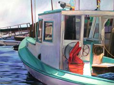 Lobster Boat in Camden  (oil painting)