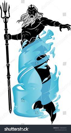 Poseidon Power Over Ocean Stock Vector (Royalty Free) 1186566031 Hanuman Tattoo, Trash Polka, Poseidon Tattoo, Male Fairy, Daughter Of Poseidon, Greek Mythology Art, Roman Gods, Denim Art, Kingdom Of Heaven