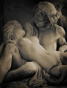 Sculpture of two lovers from the fountain at Jardin du Luxembourg in Paris