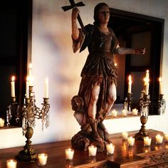 Home altar - Saint Michael, one of the archangels and the patron saint of all who protect and serve