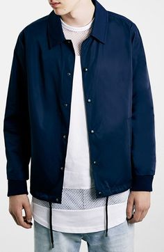 925d9ee5 Topman Navy Coach Jacket available at #Nordstrom Stylish Jackets, Men's  Coats And Jackets,