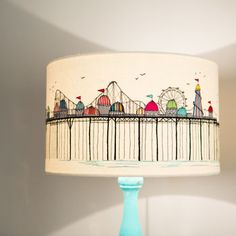 Embroidered 'Pier' Lampshade