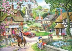 1000 Piece Jigsaw Puzzle. Feeding The Ducks In Village Pond