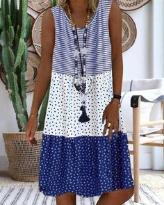Women's Striped Polka Dot Gradient Stitching Sleeveless V-neck Dress – Dressisi Midi Sundress, V Neck Midi Dress, Striped Midi Dress, Sundress Outfit, Plus Size Casual, Plus Size Outfits, Casual Dresses For Women, Cute Dresses, Maxi Dresses