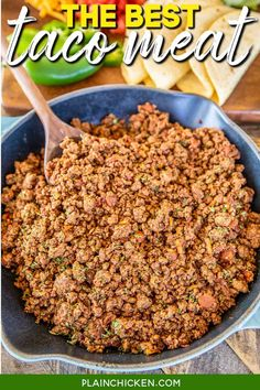 The BEST Taco Meat - our go-to recipe for taco night. Tastes as good as our favorite Mexican restaurant! Super easy to make and ready to eat in about 15 minutes. Ground beef, onion, garlic, chili powder, salt, cumin, diced tomatoes and green chiles, red pepper flakes, and water. You will never use a packet of taco seasoning again! Can freeze leftovers for a quick meal later. A must for taco night! Best Taco Meat Recipe, Chicken Taco Recipes, Meat Recipes, Mexican Food Recipes, Cooking Recipes, Mexican Dishes, Taco Johns Taco Meat Recipe, Recipies, Party Recipes