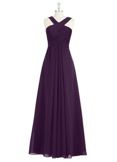 The Azazie Kaleigh bridesmaid dress is the epitome of timeless elegance. It features a v-neckline, pleated woven details on the bodice, and a floor-length pleated A-line skirt. Available in 30+ colors, seen here in Grape.