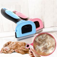 Pet Cat Dog Hair Deshedding Comb Grooming Brush Rakes Tool ABS Handle Welcome #Unbranded