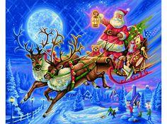 Schilderen op nummer - De Kerstman met rendierslee - 40 x 50 cm
