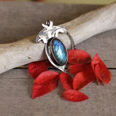 Silver bird pendant labradorite necklace silver by Naryajewelry