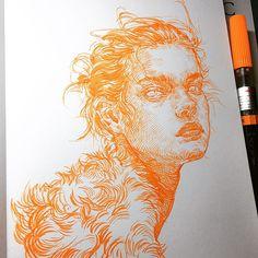 must go on #pentel brushpen on #leuchtturm1917 note. #illustration #drawing #sketch #sketchbook #ink #portrait #uniquelab #uniquelabart #tangerinesketchbook