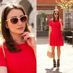 robe patineuse rouge avec manche