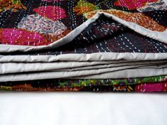boho bedding // kantha Bed Cover // black kantha by LiveLoveSmile