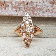 Antique Victorian Rose Cut Diamond Ring  Marquise Cluster