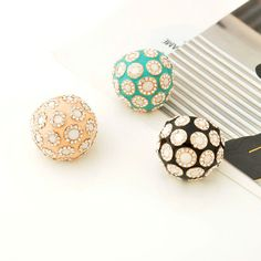 Gold Plated Green Rhinestone Dome Ring