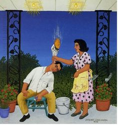 Earache Treatment 1989 Carmen Lomas Garza, American, b. Ear Candling, Mexicans Be Like, Latino Art, Mexican Heritage, Mexican Humor, Arts Ed, Mural Art, Medicinal Plants, Herbs