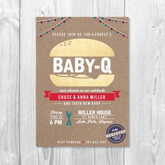 Baby-Q  Couple's BBQ Baby Shower Invitation  by SarahNelsonStudios