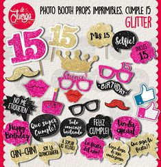 Quinceanera Photo Booth printable Props is 15 years by DeJuerga Sweet 16 Birthday, 15th Birthday, Birthday Parties, Emoji Coloring Pages, Quinceanera Party, Sweet 15, Backdrops For Parties, Photo Booth Props, Party Photos
