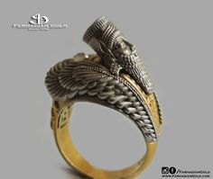 3d Winged Bull Ring//18k gold,assyrian ring,hekhamanesh, mens ring, luxury in handmade, assyrian jewelry, historic unique gift,fashion by FarhadianGold on Etsy