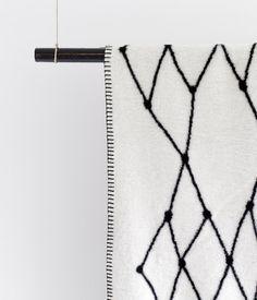 bastisRIKE - black embroidered lines on white  #thegridblanket