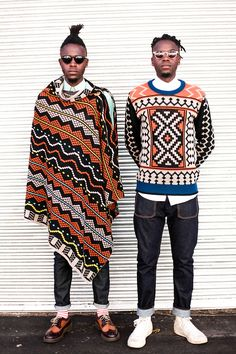 MaXhosa by Laduma (South Africa) | Ngxokolo established the brand 2011 with a desire to explore knitwear design solutions that would be suitable for the amakrwala (Xhosa initiates) traditional dress. As a person who has undergone the ritual, he felt that he needed to develop a premium knitwear range that celebrates traditional Xhosa beadwork easthetics, using South African mohair and wool - http://www.maxhosa.co.za