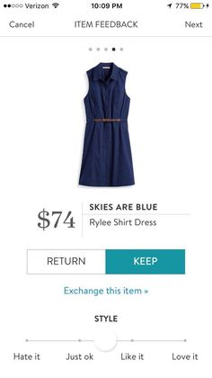 Skies are Blue - Rylee shirt dress in navy looks so pretty. Would be great for teachers, work, and weekend dates. Try Stitch Fix to update your wardrobe with your own personal stylist. Use my link to get started! http://stitchfix.com/referral/7578631