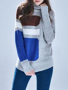 Gray Color-block Turtleneck Long Sleeve Sweater