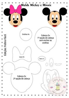 Best 12 Molde Michey e Minnie Animal Templates, Felt Templates, Felt Patterns, Stuffed Toys Patterns, Minnie Maus Ballons, Felt Crafts, Diy And Crafts, Miki Mouse, Mickey E Minie
