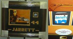 """Dale Jarrett Signed Framed 8x10 Photo Car Metal JSA COA . $200.00. NASCAR Driver and Sports Commentator, Dale Jarrett, Hand Signed Color 8x10"""" UPS Racing Photograph. Photograph is Professionally Matted and Framed with an Actual Metal Piece of His Carin a 24x20"""" (appx)Brown Frame.  Ready to Display!! Mat has44 JARRETT Cut In It. GREAT AUTHENTIC DALE JARRETT NASCAR RACING COLLECTIBLE!! . AUTOGRAPH AUTHENTICATED BYJAMES SPENCE AUTHENTICATION WITH NUMBERED JSA..."""