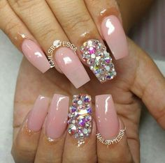 Light Pink Square Tip Acrylic Nails w/ Rhinestones