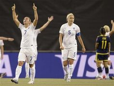 England players Jordan Nobbs (7) and Steph Houghton celebrate after teammate Fara Williams scored their second goal against Colombia during the first half of a FIFA Women's World Cup soccer match, Wednesday, June 17, 2015, in Montreal, Canada. (Ryan Remiorz/The Canadian Press via AP) MANDATORY CREDIT ▼18Jun2015AP|England beats Colombia 2-1 to advance to knockout stage http://bigstory.ap.org/article/621f7cc09c654fc393724fc05c029f65 #2015_FIFA_Womens_World_Cup #Group_F_England_vs_Colombia