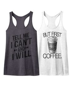 Loving this Charcoal Heather & White 'But First Coffee' Racerback Tank Set on #zulily! #zulilyfinds