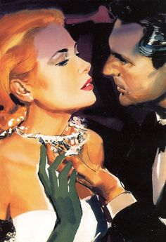 Illustration of Grace Kelly & Cary Grant in To Catch a Thief Artist Unknown Grace Kelly, Patricia Kelly, Romance Art, Vintage Romance, Cary Grant, Pin Up Vintage, Vintage Art, Vintage Hollywood, Classic Hollywood