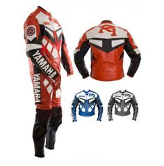 Yamaha R1 Red & White Moter Biker Leather Suit