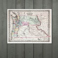 Antique Map of the States of Washington and Oregon by PortofPrints