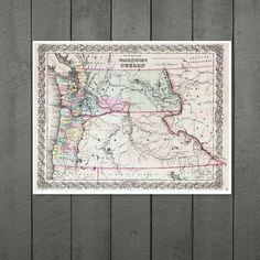 Antique Map of the States of Washington and Oregon by PortofPrints