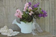 Blue shabby chic watering can