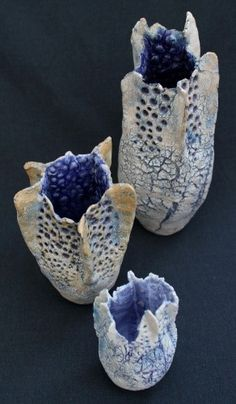 David Brown - Ceramics - striking glazing and design on these pieces. Natural forms, interesting textures and that deep blue interior Ceramic Pinch Pots, Ceramic Clay, Ceramic Pottery, Pottery Art, Kintsugi, Keramik Design, Coral Art, Sculptures Céramiques, Hand Built Pottery
