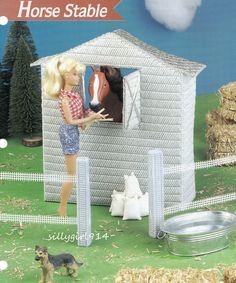 Horse Stable, Annie's Fashion Doll Plastic Canvas Pattern Leaflet Barbie Clothes, Barbie Dolls, Barbie Stuff, Doll Stuff, Plastic Canvas Crafts, Plastic Canvas Patterns, Barbie Horse, Diy Barbie Furniture, Diy Canvas