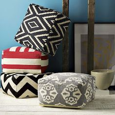DIY West Elm floor poufs using 3 $3 ikea rugs!!