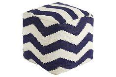 Blue Chevron Pouf by Ashley Furniture