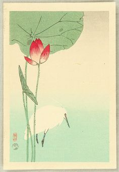 Ohara Koson: Egret and Lotus - Ca. 1936