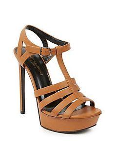 Saint Laurent Bianca Leather Sandals - Beige - Size 35