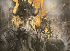 """Eros and Thanatos - detail - Graphite, Gold leaf and hydrangea petals on Arches paper - 17/23"""" - 43/58cm - Yoann Lossel - 2013"""