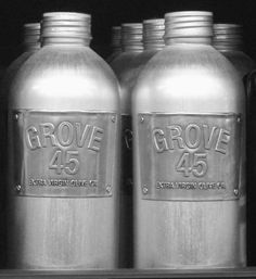 Extra virgin olive oil from Napa Valley. Harvested & processed same-day.  Re-usable aluminum bottle/pewter label.  (Grove 45 Olive Oil: Remodelista)